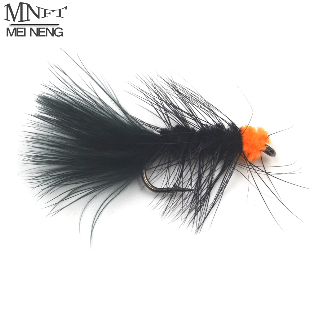 MNFT 10PCS 6# Fly Fishing Insect Bait Orange Egg Sucking Leech Wooly Streamer Fly Artificia Nymph Black Color Marabou Flashabou