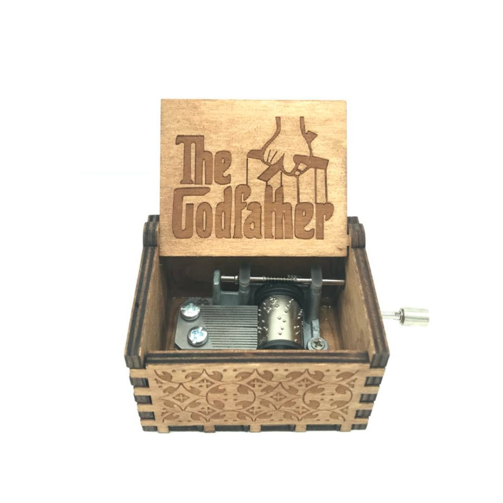 The Godfather Theme Music Box Engraved Wooden Hand Crank Theme Music