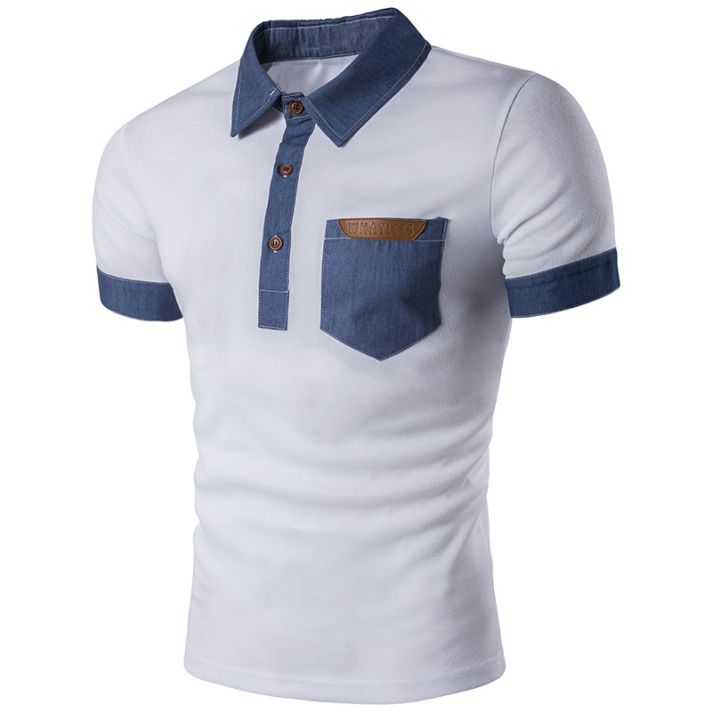 Pocket polo shirts cowboy patchwork male leather men polo for Men s cotton polo shirts with pocket