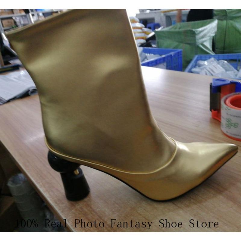 Frau gold Gold Leder rot Runway weiß Stiefeletten grau Photo Rot Stiefel Dame As High Spitz 2018 Martin Echt Seltsame Heel Mode Schwarz xWUE8wE1R