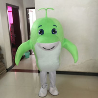 New Hot Sale Green Dolphin Fancy Dress Party Dress Adult Character Halloween Cosplay Mascot Costume