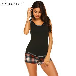 Image 4 - Ekouaer Mulheres Sleepwear Pijama de Verão Conjunto roupa de Dormir Sexy O pescoço Sem Mangas Tanque Top Bermudas Xadrez Solta Salão Pijama Terno