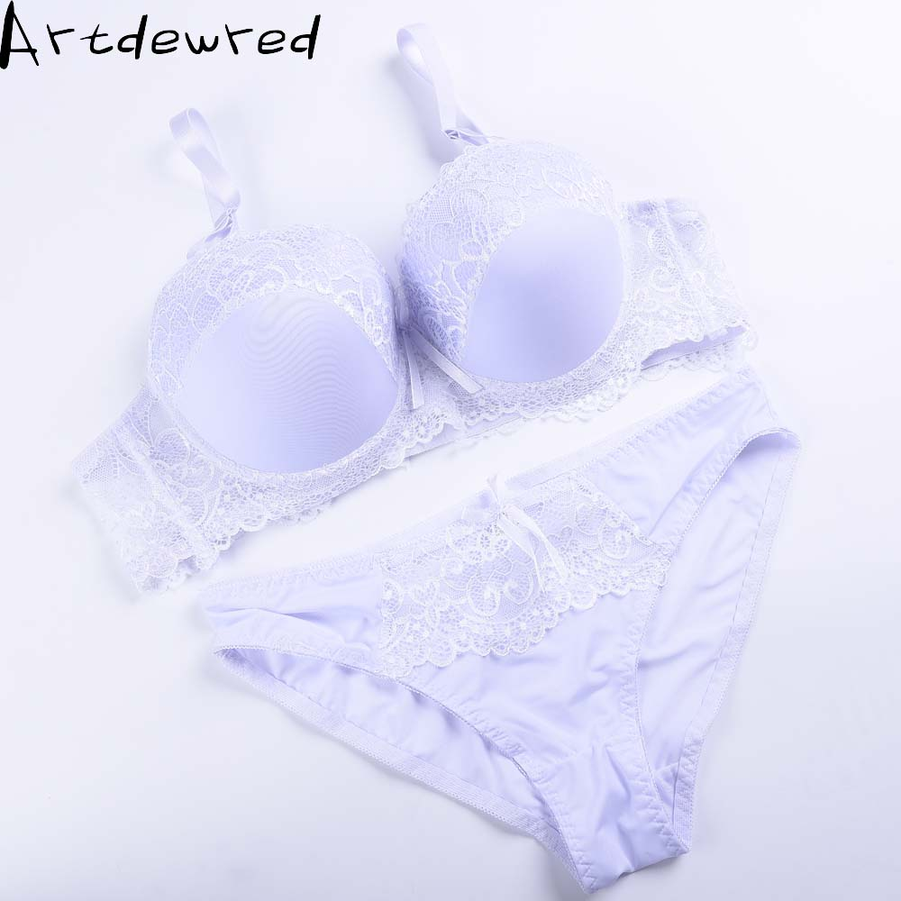 Artdewred New 2017 Plus Size   Bra     Set   Adjustable Push up Side Gathering Lace mm Shaping C Large Cup D Large Solid Underwear   Set