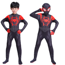 New adult Kids Spider-Man Into the Spider-Verse Miles Morales Cosplay Costume Zentai Spiderman Pattern Bodysuit Suit Jumpsuits adult spiderman into the spider verse miles morales cosplay costume halloween costume for men suit superhero costume for adult