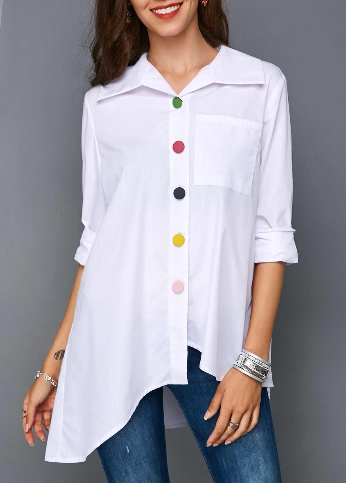 2019 XS-5XL ผู้หญิงสีขาวด้านบนปุ่มที่มีสีสัน Anomalistic ผู้หญิงเสื้อยืดแฟชั่น Turn-down เสื้อ \ \ \ \ \ \ \ \ \ \ \ \ \ \ \ \ \ เสื้อยืด