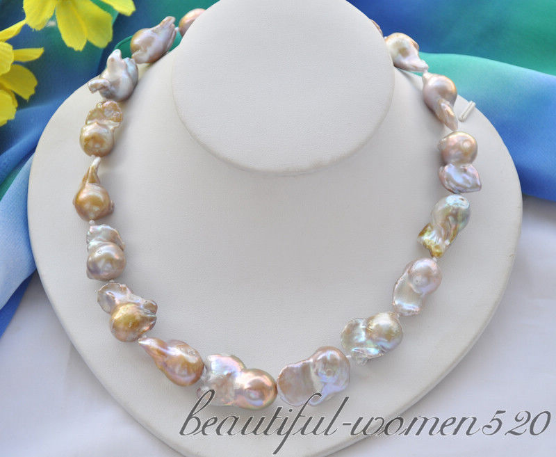 Z6701 30mm lavender baroque keshi reborn freshwater pearl necklace 18inch цена и фото
