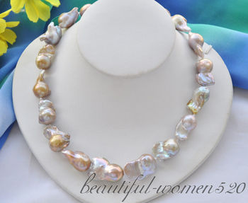 Z6701 30mm lavender baroque keshi reborn freshwater pearl necklace 18inch