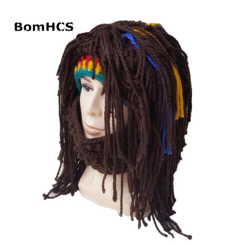 BomHCS Fashion Funny Jamaican Wig Beanie & Mask Crazy Beggar Beard Hat 100% Handmade Knitted Cap Gift