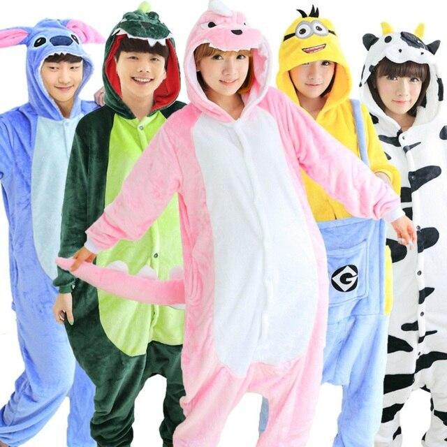 Wholesale Panda Stitch Unicorn Unisex Flannel Hoodie Pajamas For Adults Women Men Costume Cosplay Animal Onesies Sleepwear