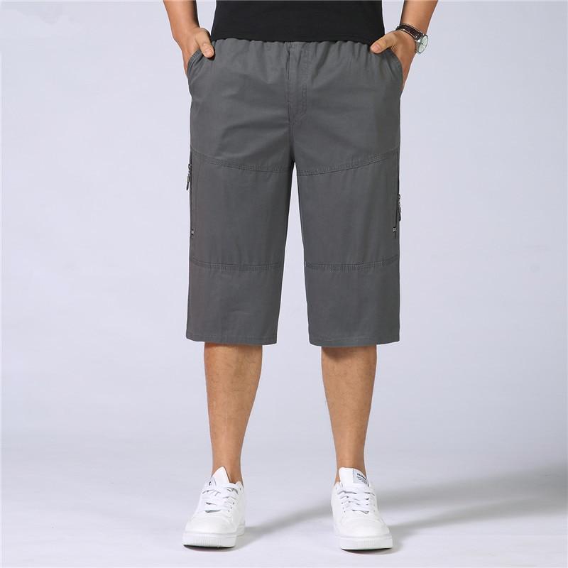 New Men Elastic Waist Shorts Multi Pocket Shorts Male Tactical Short Plus Size Military Zipper Cargo Shorts Suit for 55- 115 Kg
