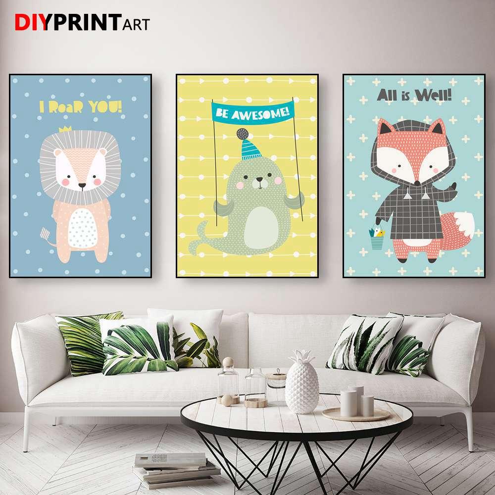 Baby Animal Fox Seal Canvas Prints Home Decor Modern Wall Art ...