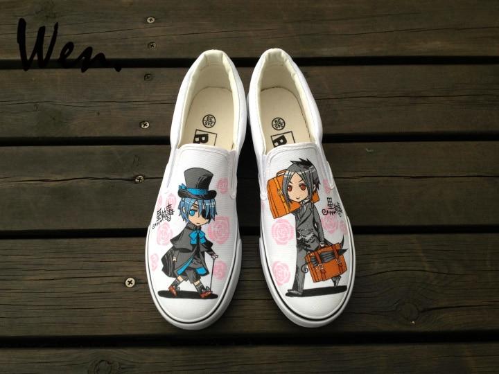 Dos Design Plataforma Pintados Sapatos Lona De Low Mão Black Sneakers Wen Sapatas Personalizado Homens Deslizamento Mulheres Em À Top Butler Anime Plimsolls Txwq4