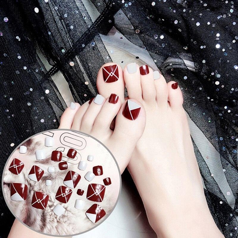 24 Pcs/Set Professional Lady Girl Acrylic Summer Nail Art Tips False Fake 3D Foot Toe Nails Full Cover Tips