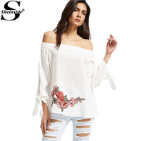 Sheinside Off Shoulder Embroidery Blouses Women White Sexy Summer Tops Rose Patch Clothing 2017 New Casual