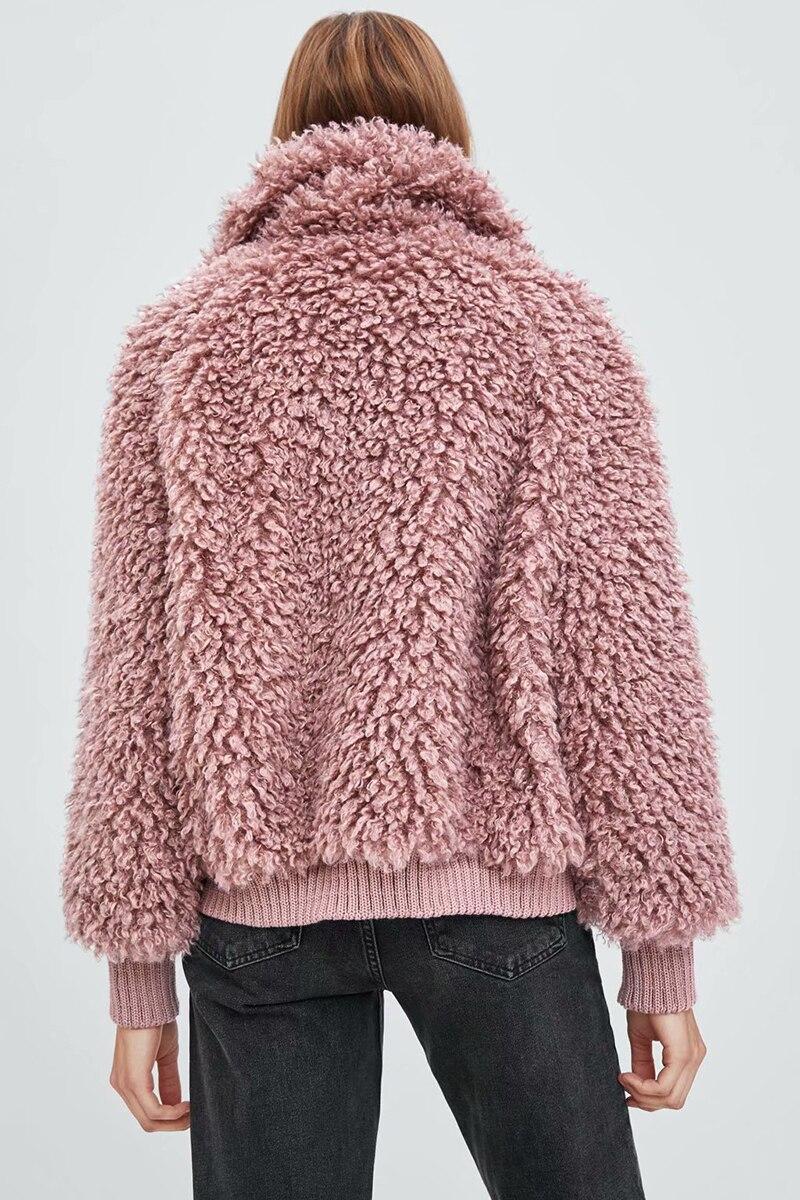 Faux De Chaud Automne Femelle Femmes D'agneau Suède Base Rose Courte Revers Solide Zipper Veste Survêtement Laine 2018 coffee D'hiver Manteau rFxXfwvrq