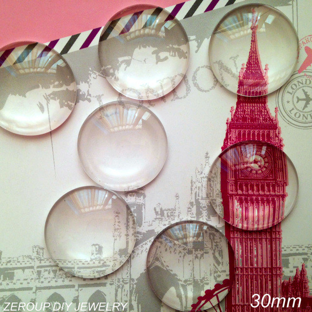 ZEROUP 5pcs/lot 30mm Handmade Clear Glass Cabochon Domed Round Jewelry Accessories