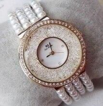 Nouvelle Arrivée Femmes Montres Lady Perle Robe Montre Or Argent Plein Strass Bracelet Montre-Bracelet Dame diamant Montre pour Filles