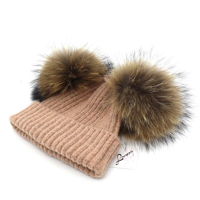 Lanxxy Real Mink Fur Pompom Cap Կանանց ձմեռային - Հագուստի պարագաներ - Լուսանկար 4