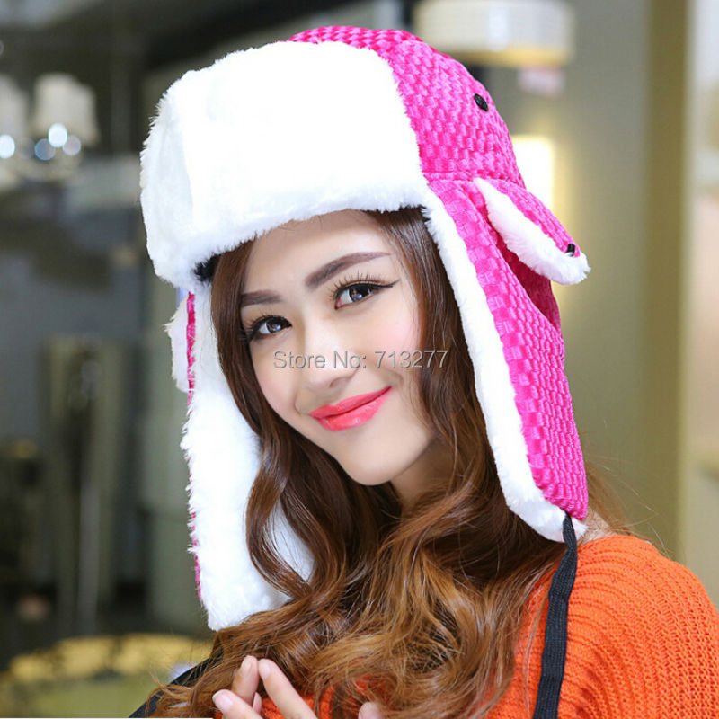 Winter Hat Aviator-Hat Faux-Fur Trooper Women Warm Solid for Russian Ear-Protect HT416