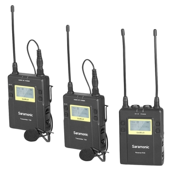Saramonic Uwmic9 96-Channel Uhf Wireless Lavalier Microphone System Two Transmitters and One Receiver for Dslr and Camcorder V