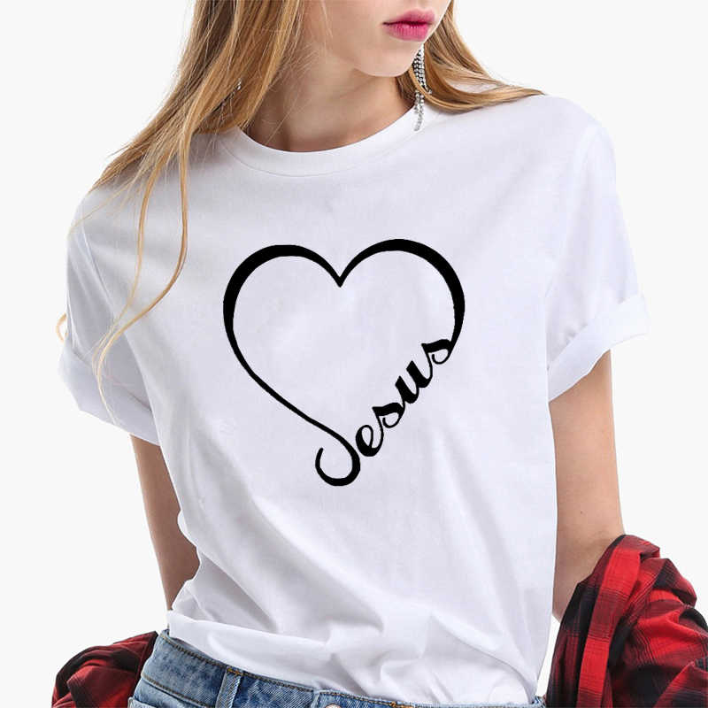 Jesus Print Heart-shaped T-shirt Women Short Sleeves Funny Faith Clothes Streetwear Casual Women Christian T Shirt Plus Size