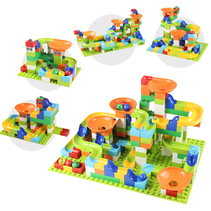 Image 2 - 56 224Pcs Big Size Brick Marble Race Run Maze Ball Track Diy Building Blocks Compatible Duploe block toys for children
