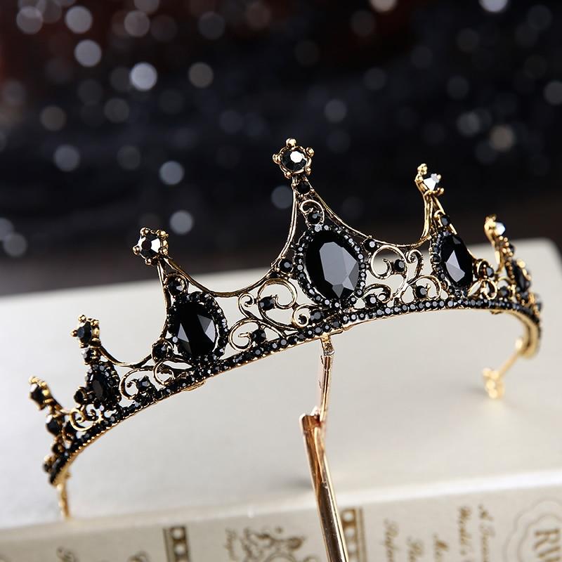 2019 new Baroque retro black luxury tiara bridal tiara wedding accessories birthday tiara style in Hair Jewelry from Jewelry Accessories