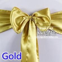 Золотой цвет атласный пояс стул шарф свадебное украшение бант на стул полоса вечерние отель шоу декоративный пояс-кушак блестящий цвет