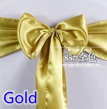 Gold Colour Satin Sash Chair Sash Wedding Decoration Bow Tie Chair Band Party Hotel Show Decoration Sash Shiny Colour