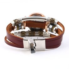 NEW Genuine Leather Watch Women Triple Bracelet Wristwatch Italian Style