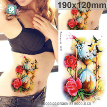 Beautiful Waterproof Temporary Tattoos For Men Women 3D Rose Bird Funnel Design Large Tattoo Sticker MC2727