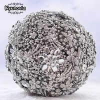 Kyunovia Size 20CM 8'' full Silver crystal wedding brooch bouquet Bridal Bouquet Jewelry Custom Broach Wedding Bouquet D58