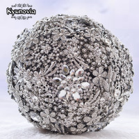 Kyunovia Size 20CM 8'' full Silver crystal wedding brooch bouquet Bridal Bouquet Jewelry Custom Broach Wedding Bouquet D58
