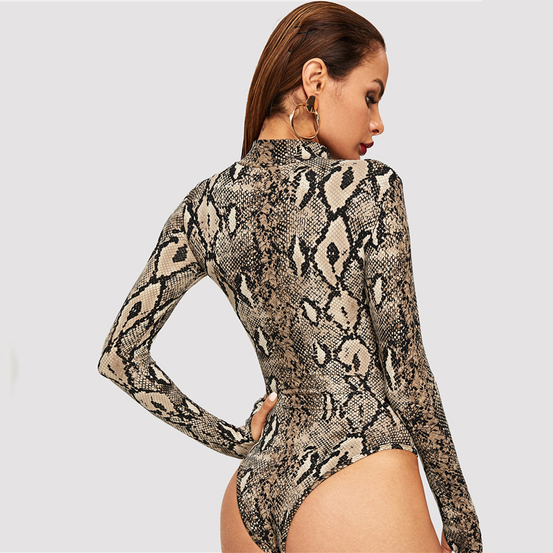 Snake Print, High Neck, Casual Bodysuit, Women's Long Sleeve Bodysuit, Fashion Vintage Bodysuit 13