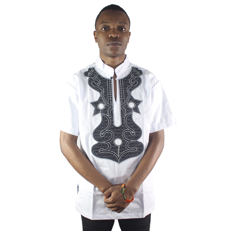 Africa White Men`s Illusion Embroidery Formal Ethnic Tops Mandarin Collar Short Sleeved Male Tunic Shirts