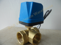 AC220V DN32(G1 1/4) Electric Motorized Brass Ball Valve 3 Way 3 Wire with Actuator M03 dropship with LED indicateor light