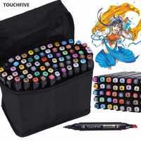 Touchfive 30/40/60/80/168 Цветная кисть для рисования; Ручка, масляные художественные маркеры на спиртовой основе, набор двойных наконечников, скетч-ма...