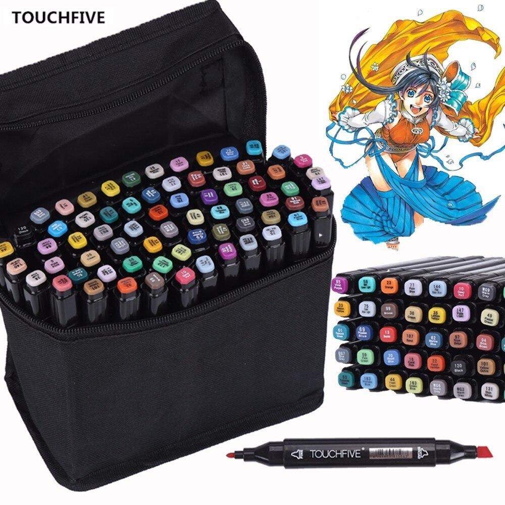 Touchfive 30/40/60/80/168 Farbe Zeichnung Pinsel Stift Fettige Alkohol Based Art Marker Set Dual Tip Skizze Marker für Animation Manga