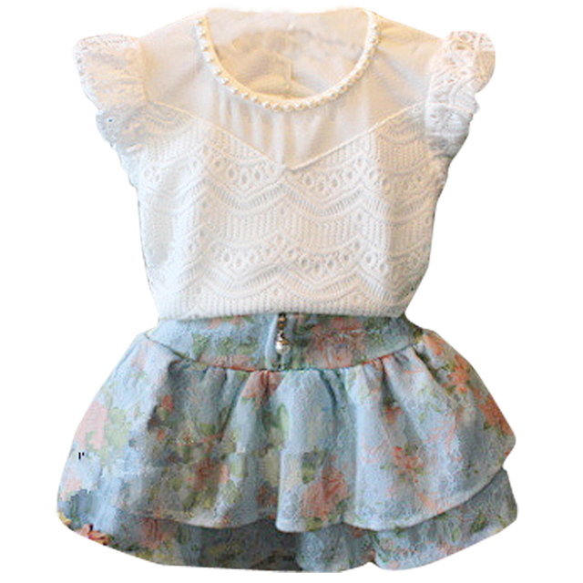 Free shipping 2017 summer fashion girls elegant clothing set white lace short-sleeve t-shirt + floral skirt girls clothes