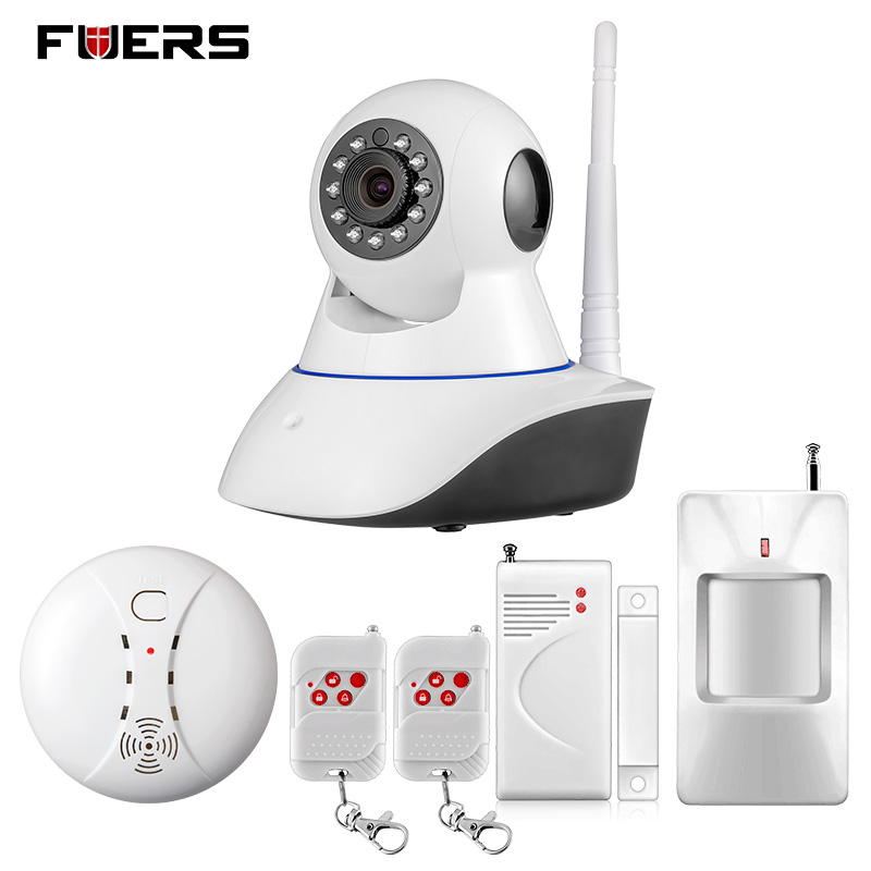 Fuers WiFi IP Camera Home Burglar Security Smoke Fire Detector Alarm System+IOS/Android App Remote Control Network Alarm System yobangsecurity 2 4g touch keypad wireless wifi alarm system security home ios android app remote control gas leakage detector