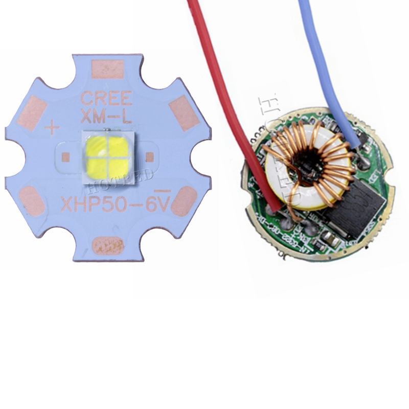 Cree XHP50 Cool White Neutral White Warm White High Power LED Emitter 6V 20mm Copper PCB + 22mm 1Mode / 5Modes Driver