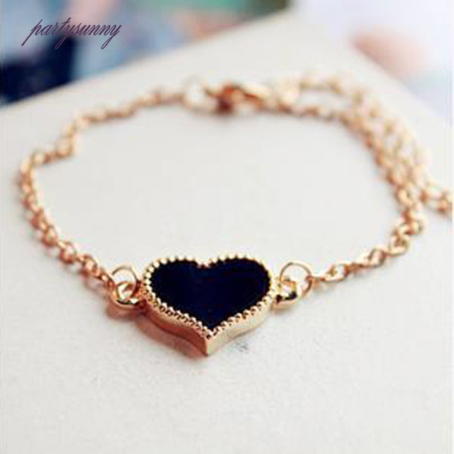 Pf Multicolor Heart Bracelet Cute Bangles Pulseira Adjule Chain Lobster Clasps Bracelets Women Elegant Jewelry Trinket