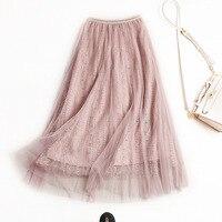 Wiosna-lato kobiet długa spódnica z elastyczny pas Modny elegancki słodki tulle-spódnica jednolity kolor z koralikami i haftu