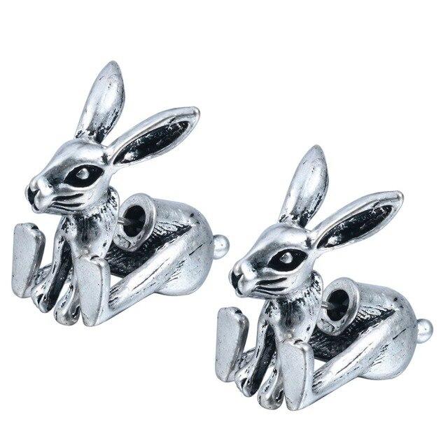 qiming 1pair fake gauge earrings realistic bunny rabbit animal