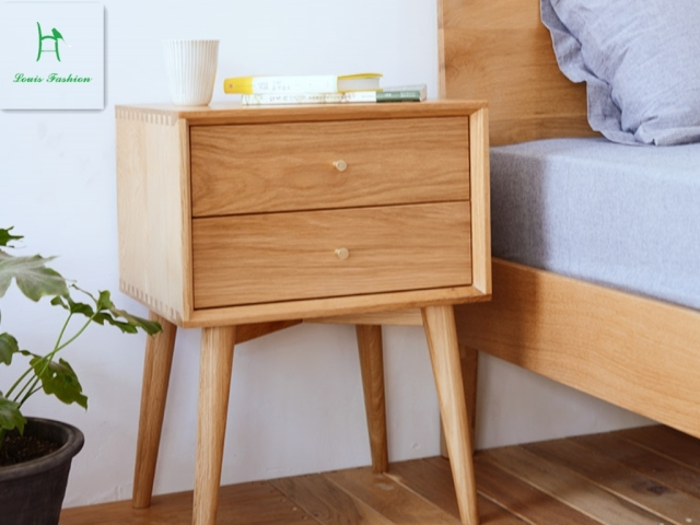 Anese White Oak Wood Nightstand Simple Modern Bedroom Furniture Cabinet Drawer Bucket Nordic