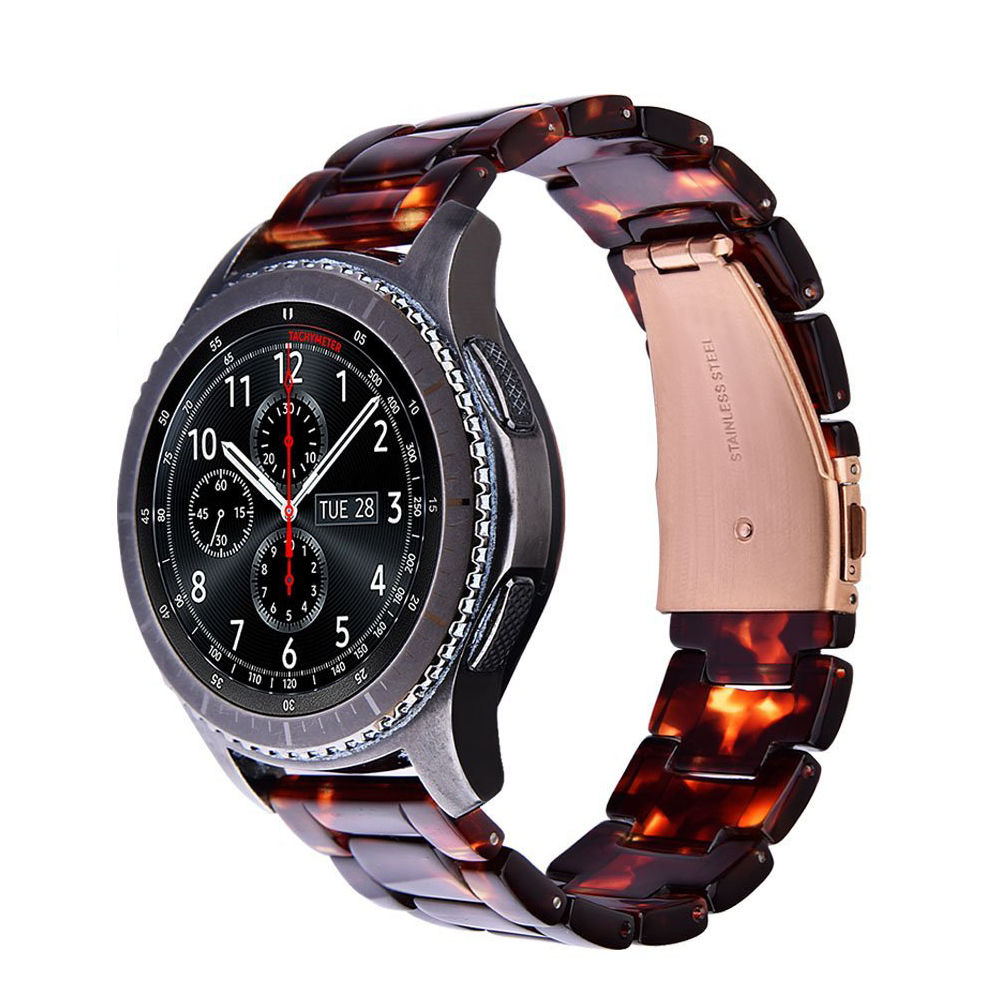 V-MORO 22mm Fashion Resin Bracelet Strap with Metal Stainless Steel Rose Gold Buckle for Samsung Gear S3 Frontier / Classic v moro solid stainless steel metal replacement band with adapters for samsung gear s2 smart watch metal silver
