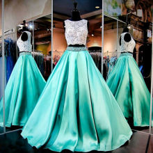 Ball Gown 2 Pieces Prom Dresses 2017 Jewel Sleeveless Party Evening Gowns with Beaded Lace Formal Dresses White and Mint Dresses