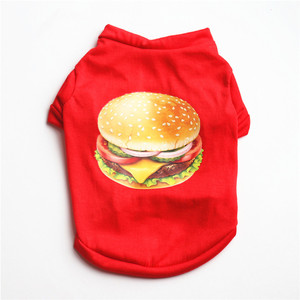 Cute Hamburger Red Dog Clothes For Puppy Shirts For Small Dogs Cat Dog Vest Pet Pajama Outfit Pet Chihuahua Clothing Costumes(China)