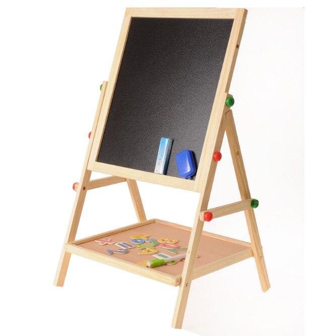 Livraison gratuite enfants bois double face magnétique planche à dessin jouet en bois éducatif carnet de croquis tableau noir enfants Montessori jouets