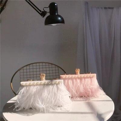 D'hiver De Nouvelle Plume Femelle rose D'embrayage Beige Soirée Perle Cheveux Et Automne Autruche Acrylique Portable Sac Aq0wIpnxP